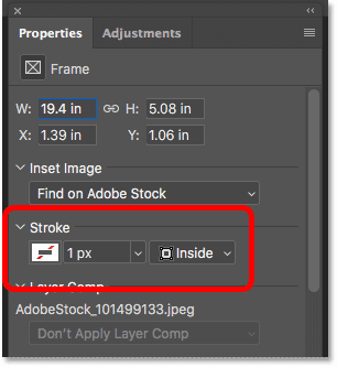 The Stroke option for the Frame Tool in the Properties panel in Photoshop CC 2019