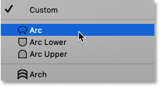 Selecting Arc from the Warp Presets menu in Photoshop