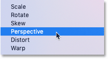 Selecting the Perspective command from the Free Transform menu in Photoshop