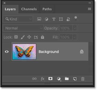 Photoshop's Layers panel showing the image on the Background layer.