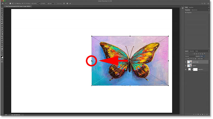 Moving the Free Transform Reference Point from the center to the side of the image.