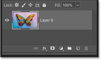 Photoshop's Layers panel showing a single layer in the document.