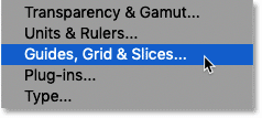 Opening Photoshop's Guides, Grid and Slices preferences