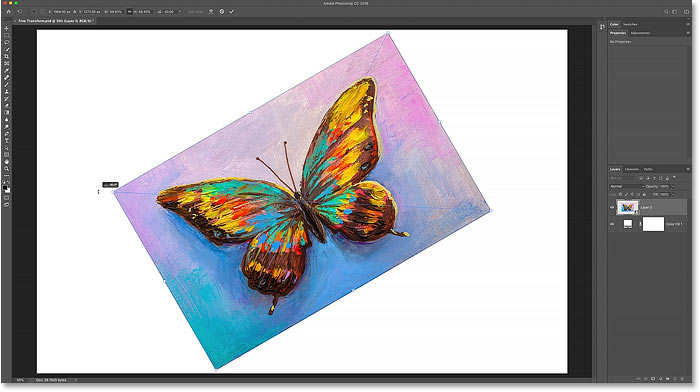 How to rotate an image with Free Transform in Photoshop