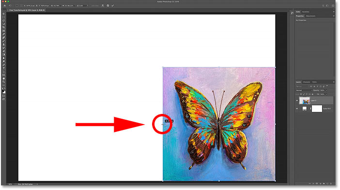 How to scale non-proportionally with Free Transform in Photoshop