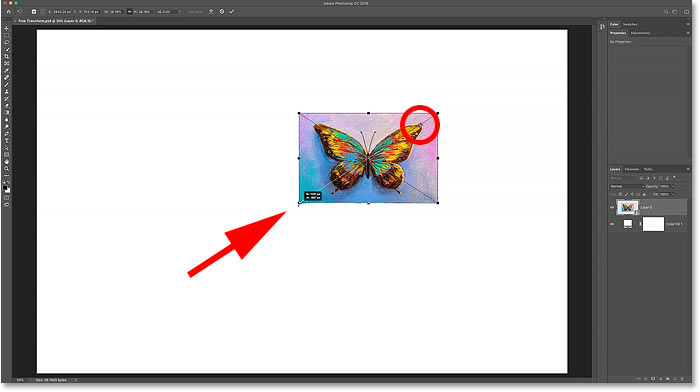 Scaling the image from the new Free Transform Reference Point in Photoshop