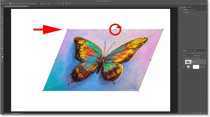 How to skew an image left or right with Photoshop's Free Transform command