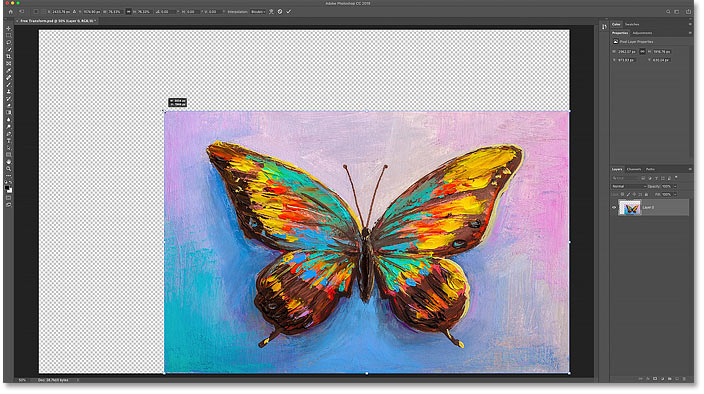 Scaling the image smaller using Free Transform fills the empty canvas space with transparency.