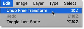 How to undo Free Transform in Photoshop