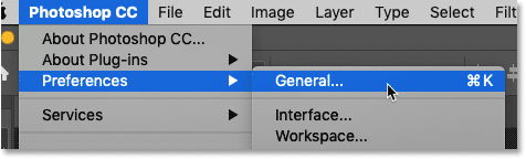Opening the Photoshop Preferences to the General category