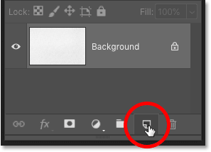How to add a new blank layer to a Photoshop document.