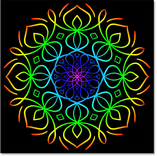 A colorful Mandala effect created with Paint Symmetry in Photoshop CC 2019