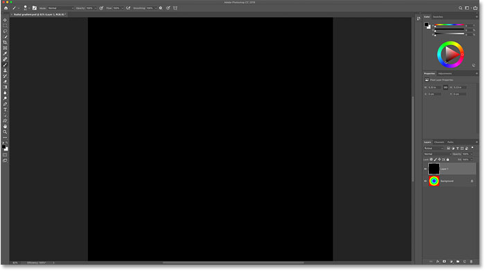 The black layer is now hiding the gradient in the Photoshop document