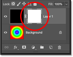Photoshop's Layers panel showing the layer mask thumbnail on the top layer