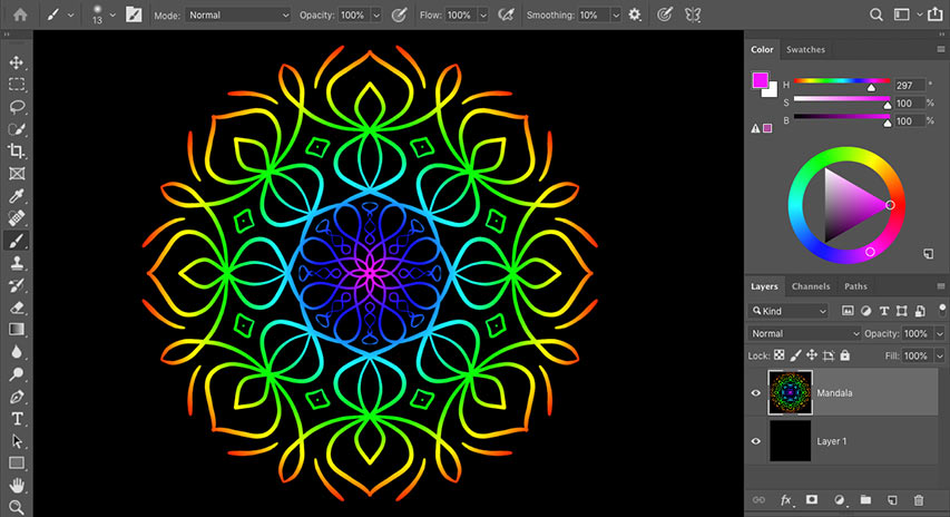 How to use Paint Symmetry in Photoshop CC 2019 to create symmetrical artwork and designs