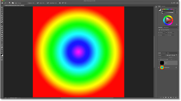 A radial spectrum gradient in Photoshop