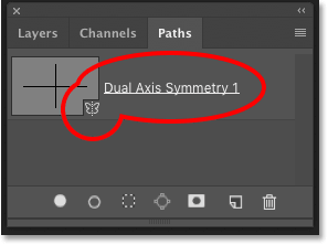 Photoshop's Paths panel showing the symmetry path