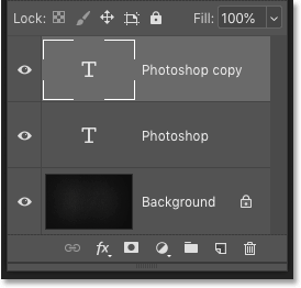 Making a copy of the Type layer in Photoshop