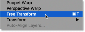 Selecting Photoshop's Free Transform command from the Edit menu