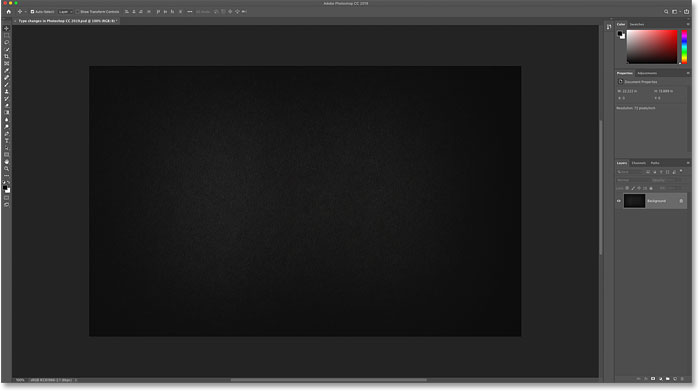 A new document open in Photoshop CC 2019
