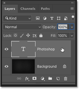 Selecting the Type layer in the Layers panel in Photoshop CC 2019