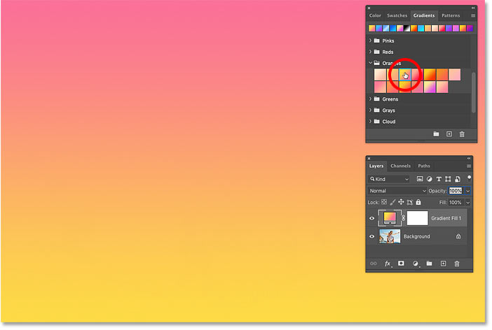 How to select different gradients in Photoshop CC 2020
