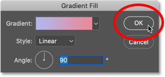 Closing Photoshop's Gradient Fill dialog box