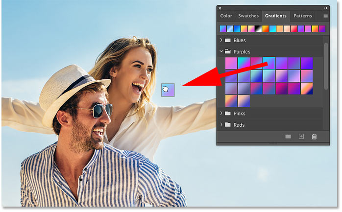 How to drag and drop gradients in Photoshop CC 2020