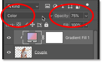 Changing the blend mode and opacity of the Gradient fill layer in Photoshop