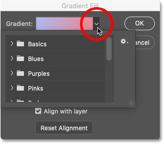 How to select a different gradient in Photoshop's Gradient Fill dialog box