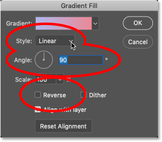 The main options in Photoshop's Gradient Fill dialog box