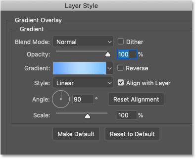 The Gradient Overlay options in Photoshop's Layer Style dialog box