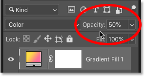 How to lower the opacity of the Gradient fill layer in Photoshop