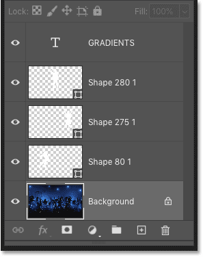 Photoshop's Layers panel showing three shape layers