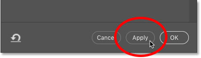Clicking the Apply button in Photoshop's Content-Aware Fill workspace