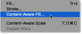 Selecting the Content-Aware Fill command in Photoshop