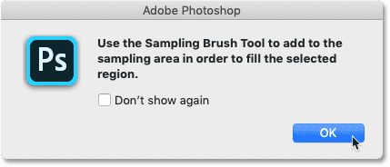 The Custom sampling area warning in the Content-Aware Fill workspace in Photoshop