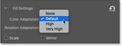 The Color Adaptation settings in the Content-Aware Fill panel in Photoshop