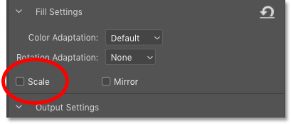 The Rotation Adaptation settings in the Content-Aware Fill panel