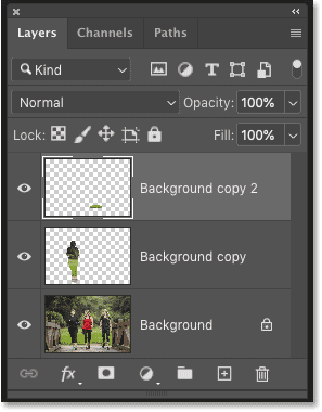 Photoshop's Layers panel showing the Content-Aware Fills on separate layers