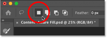 Setting the selection mode to New Selection in the Content-Aware Fill workspace in Photoshop