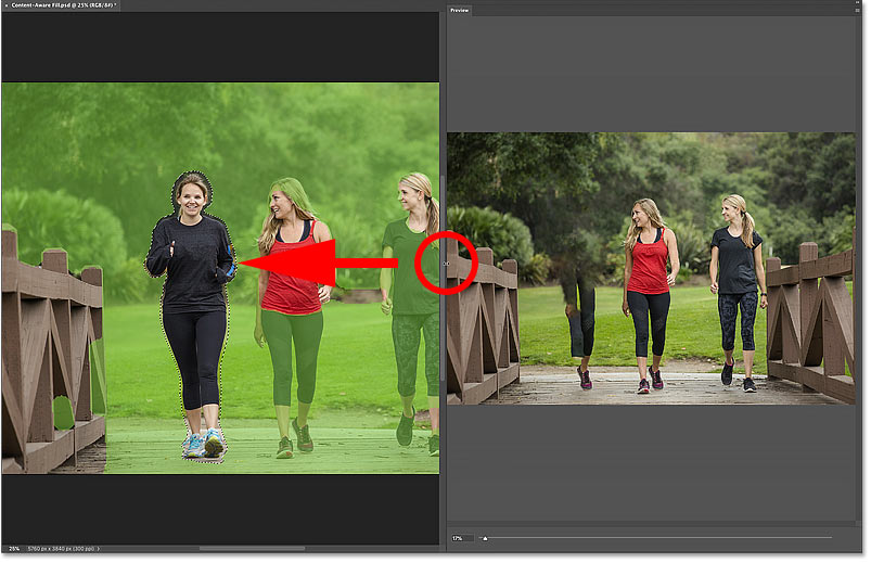 How to resize the Preview panel in the Content-Aware Fill workspace in Photoshop