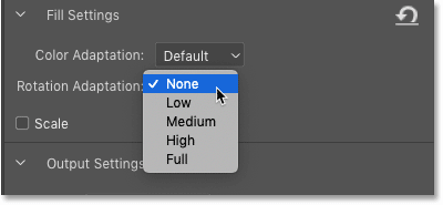 The Rotation Adaptation settings in the Content-Aware Fill panel in Photoshop