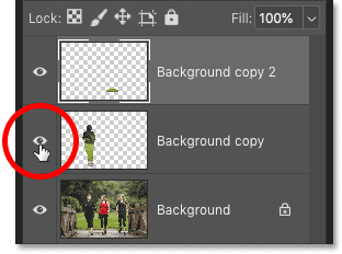 Turning off one of the Content-Aware Fill layers in Photoshop's Layers panel