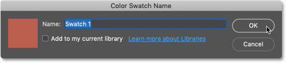 How to name the new color swatch in Photoshop CC 2020