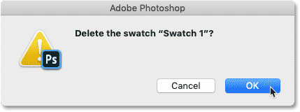 The Delete Swatch dialog box in Photoshop CC 2020