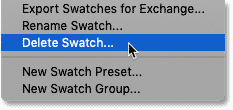 Choosing the Delete Swatch command in Photoshop CC 2020