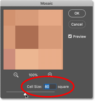 Adjusting the Cell Size value for the Mosaic filter in Photoshop