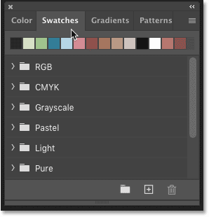 The default color swatch sets in the Swatches panel in Photoshop CC 2020