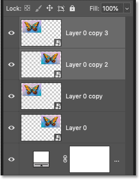 Photoshop Layers panel showing the copies of the two smart objects